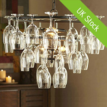 Ceiling Light Wine Glass Chandelier Pendant Lighting with 6 Lights in Wine Glass Feature