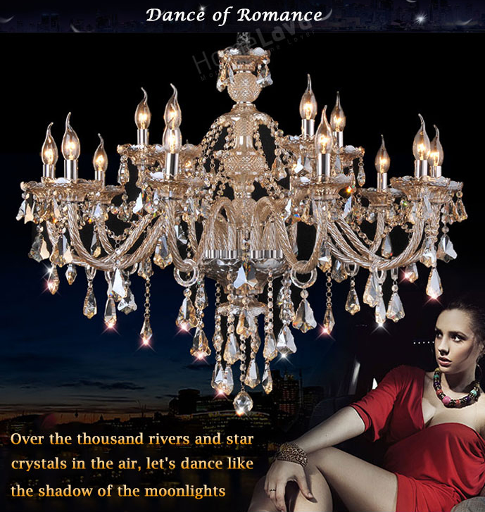Cognac Crystal Chandelier - Dance of Romance